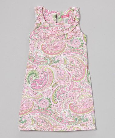 Another great find on #zulily! Candy Pink Paisley Ruffle Sleeveless Dress - Girls #zulilyfinds