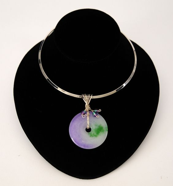 Dena wrapped this purple & green Jade pendant with lots of sterling silver!