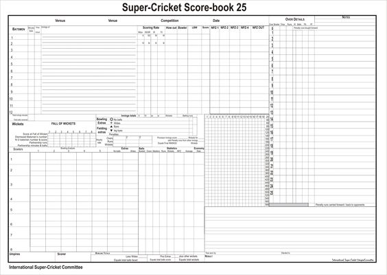 Cricket Score Sheet  Places To Visit    Cricket Score