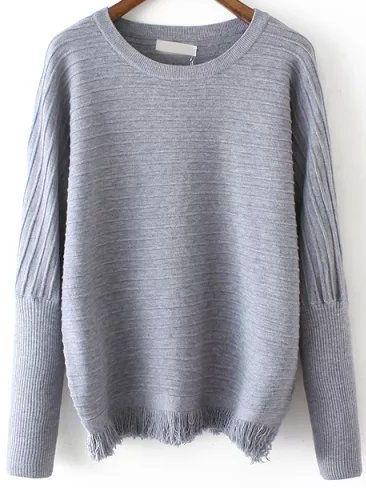 Grey Round Neck Striped Tassel Sweater