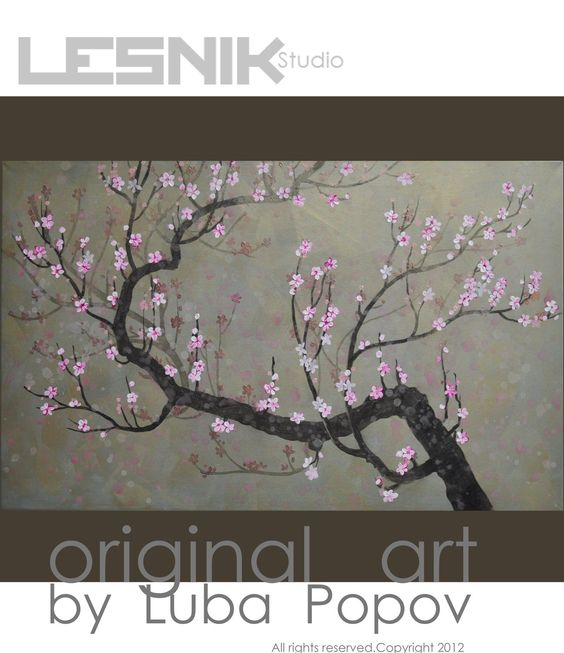 "Japanese Cherry Blossom Original Abstract Painting Acrylic on Canvas Extra Large Wall Art 30""x48"". $325.00, via Etsy."