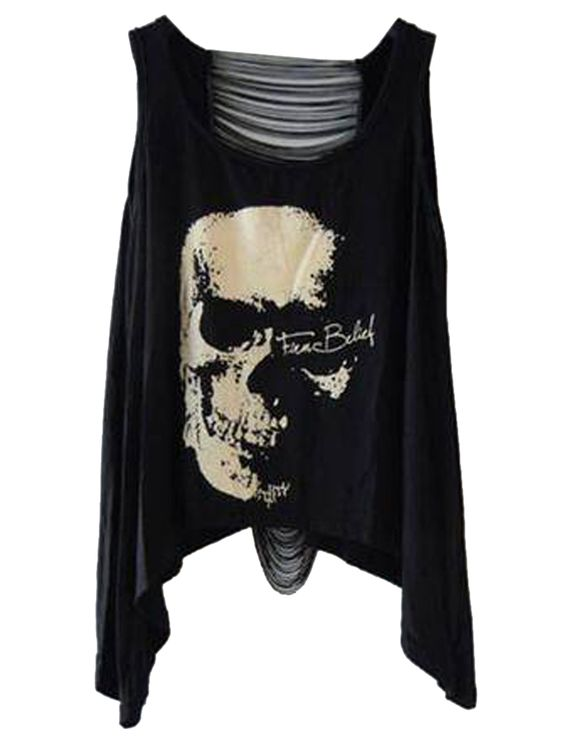 Black Loose Hollow Backside Vest With Skull Print | Choies