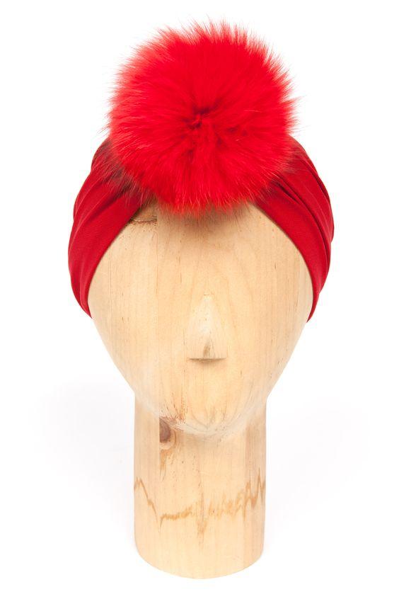 norma kamali turban with fur pom pom... omg.