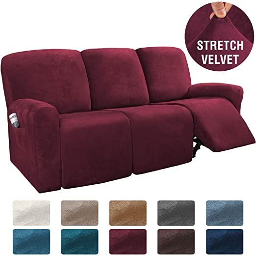 H Versailtex 8 Pieces Recliner Sofa Covers Velvet Stretch Reclining Couch Covers For 3 Cushion Sofa Slipcovers Furn In 2020 Cushions On Sofa Recliner Couch Sofa Covers