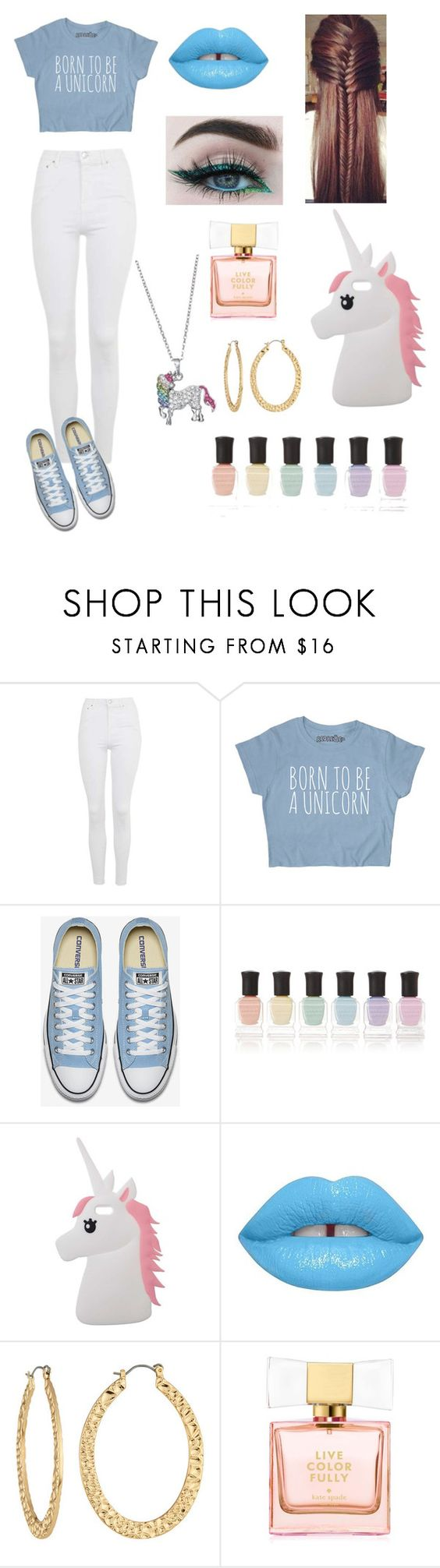 """UNICORNS RULE! 😄"" by angelinemelanie747 ❤ liked on Polyvore featuring Topshop, Deborah Lippmann, Miss Selfridge, Lime Crime, Fragments and Kate Spade"