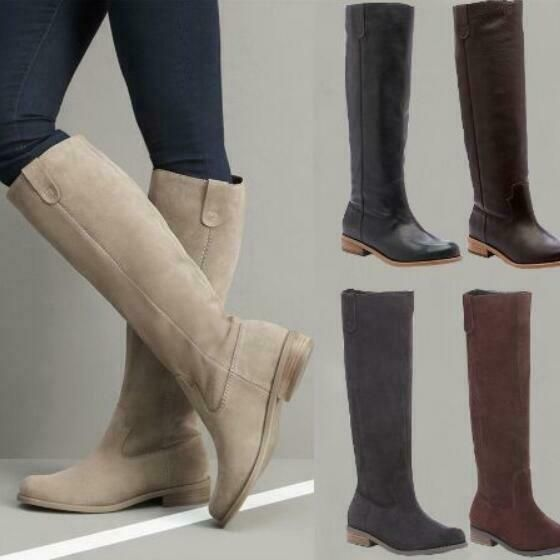Womens faux Leather knight Knee low heel High Riding Boots casual Shoes