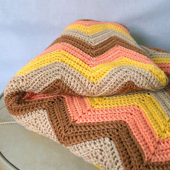 Free Knitting Pattern For Chevron Blanket : Free crochet afghan patterns, Vintage and Free crochet on Pinterest