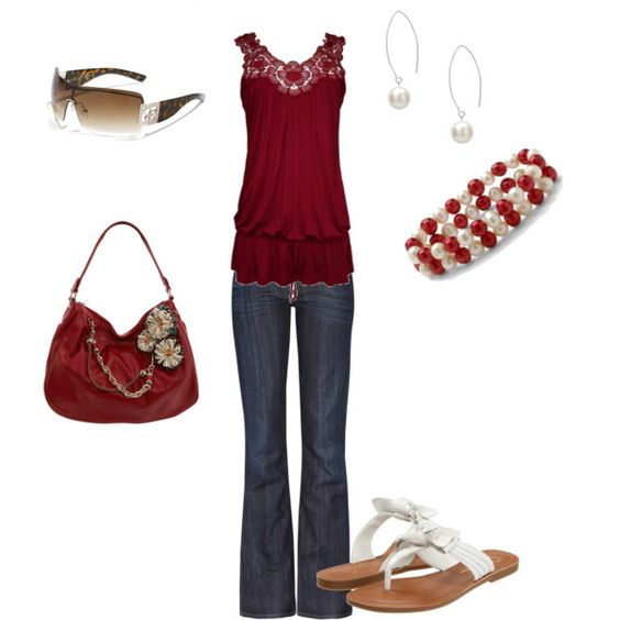 Denim and Pearls, created by janeilanderson on Polyvore