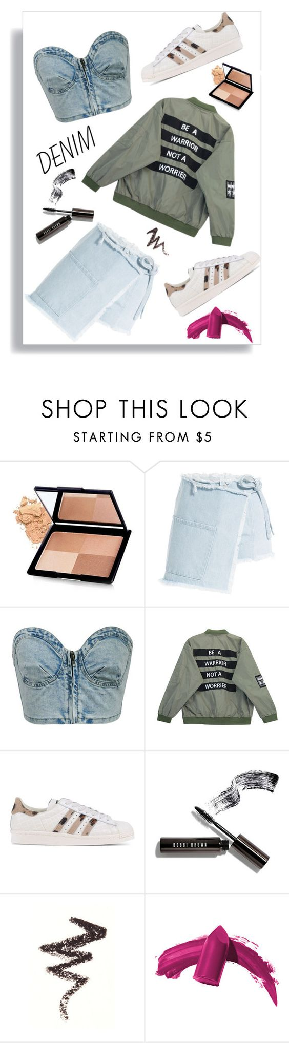 """Carpe denim"" by kit-kat-1987 ❤ liked on Polyvore featuring Sandy Liang, Chicnova Fashion, adidas Originals, Bobbi Brown Cosmetics, NYX, Elizabeth Arden and Denimondenim"