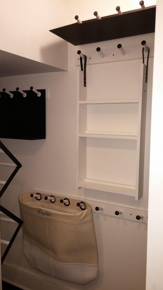 Pottery barn thimble hooks transform this small closet for Pottery barn laundry room