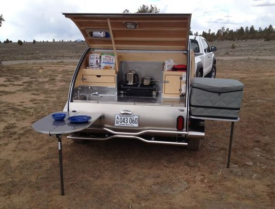 Campers kitchens and teardrop campers on pinterest for Teardrop camper kitchen ideas