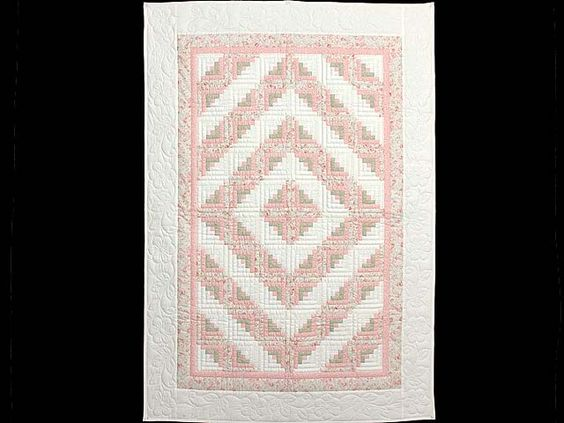 Pink Green and Cream Log Cabin Crib Quilt Photo 1