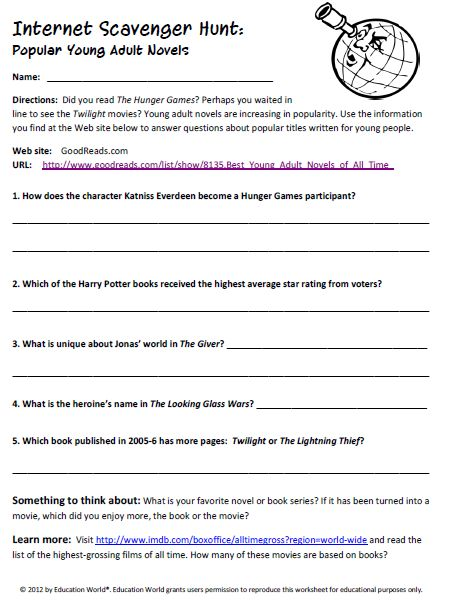 Printables Internet Scavenger Hunt Worksheet internet scavenger hunt young adults and hunts on pinterest popular adult novels