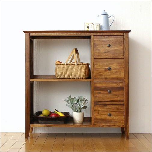 ラック 収納家具 チェスト 木製 無垢 チーク家具 飾り棚 本棚