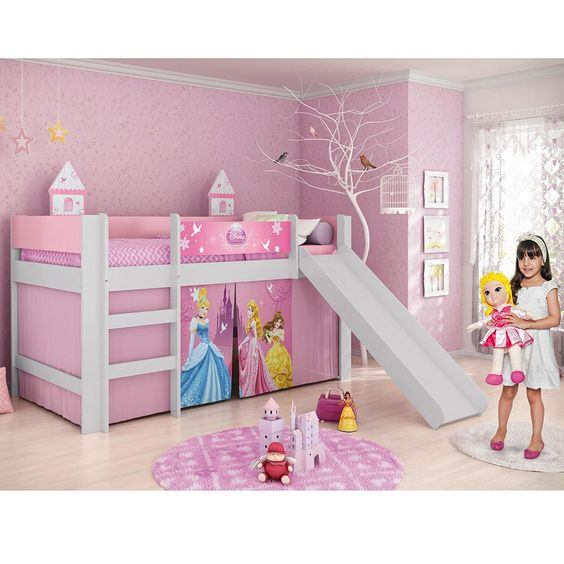 Cama infantil princesas disney play com escorregador 100 for Camas de princesas