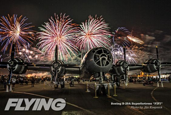 """AirVenture Night Airshow and Boeing B-29 Superfortress. The Commemorative Air Force's """"Fifi"""", world's only flying B29."""