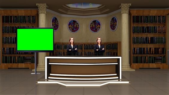 Education 033 TV Studio Set-Virtual Green Screen Background PSD