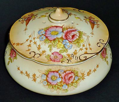 ANTIQUE S F & Co FIELDINGS CROWN DEVON blush ware SPRING jewel trinket box c1915