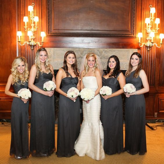 Charcoal gray bridesmaid dresses // Robyn Rachel Photography ...