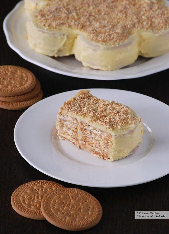 Tarta de galletas María. Receta fácil sin horno: