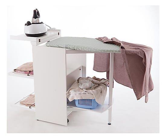 Mueble para planchar de madera de haya Stiro - blanco
