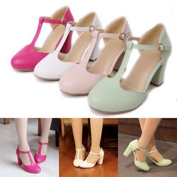 Cute Womens Mary Jane T-Strap Sweet Pumps Shoes Ladies Block High Heels Plus Sz #Unbranded #KittenHeels