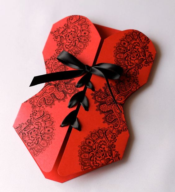 Lingerie Corset Bachelorette Party Invitations - Red and Black - 25 Count. $106.25, via Etsy.
