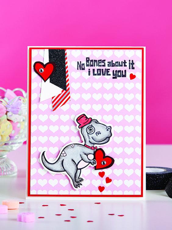 Fun Stampers Journey Dino Love Stamped valentine card