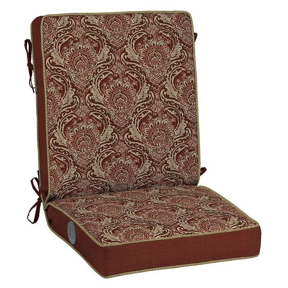 Bombay® Outdoors Venice Damask Adjustable Comfort Reversible Chair Cushion, Red