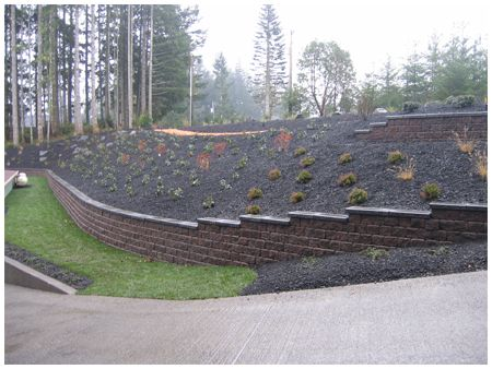 Steep slope retaining wall outdoor spaces pinterest for Garden designs for steep slopes