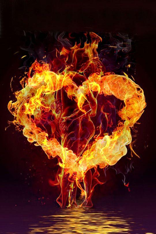 Pin By Djurdjica Mrkobrad On Srce Fire Heart Fire Art Optical Illusion Wallpaper