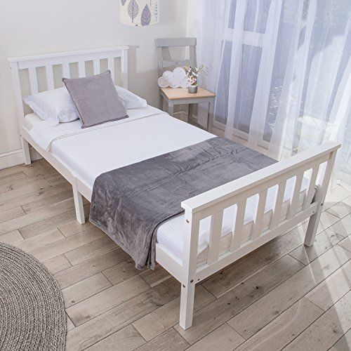 Home Treats Single Bed In White 3ft Solid Wooden Frame For Adults Kids Teenagers