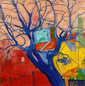 The Oak Tree by American artist Ron B. Kitaj, whose eclectic, brilliantly colored paintings move me