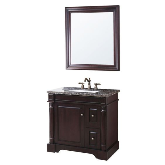 Crawford & Burke Hancock Vanity Base with Stone Top, Sink, and Mirror
