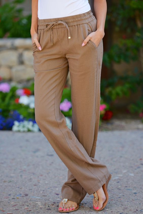Drawstring Linen Pants in Tape with Pockets from Closet Candy Boutique