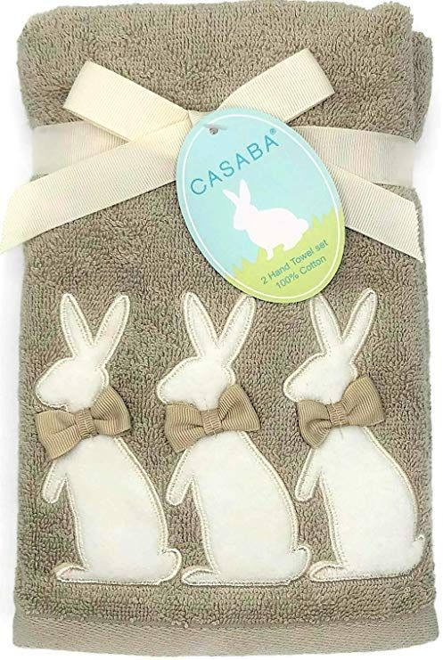 Amazon Com Casaba Appliqued Easter Bunnies With Ribbon Bows Beige