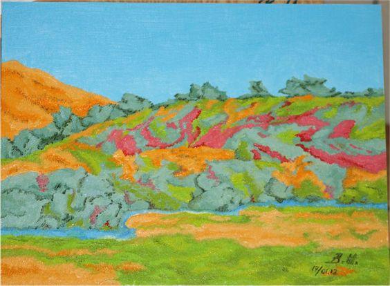 Couleurs d´automne (Farben des Herbstes, colours of autumn) - Öl auf Sperrholz, oil on wood, huile sur bois - 40 x 50 cm