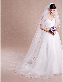 Wedding+Veil+Two-tier+Cathedral+Veils+Cut+Edge+Tulle+White+/+Ivory+–+USD+$+16.00