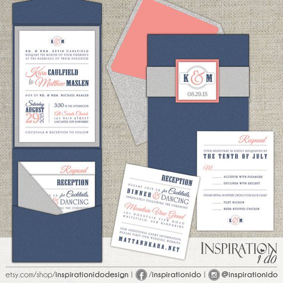 Navy Gray And Coral Wedding Invitations Modern Wedding Invitations Blue And Gray Wedding