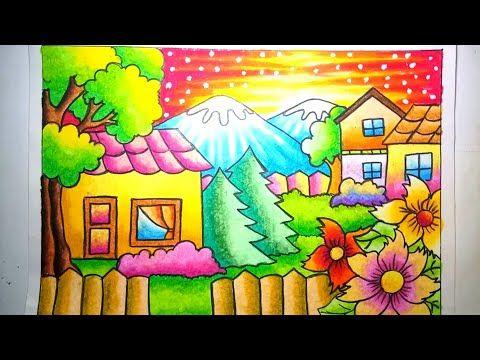 Cara Mewarnai Gradasi Oilpastel Crayon Pemandangan Alam Dan