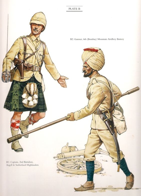 """Captain 2nd Battalion Argyll & Sutherland Highlanders & Gunner 6th(Bombay) Mountain Artillery Battery c.1898. A Colour plate from """"The Frontier Ablaze"""""""