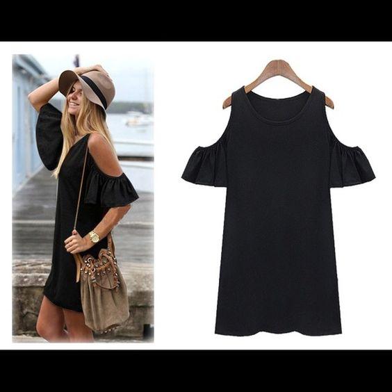 Black butterfly sleeve dress
