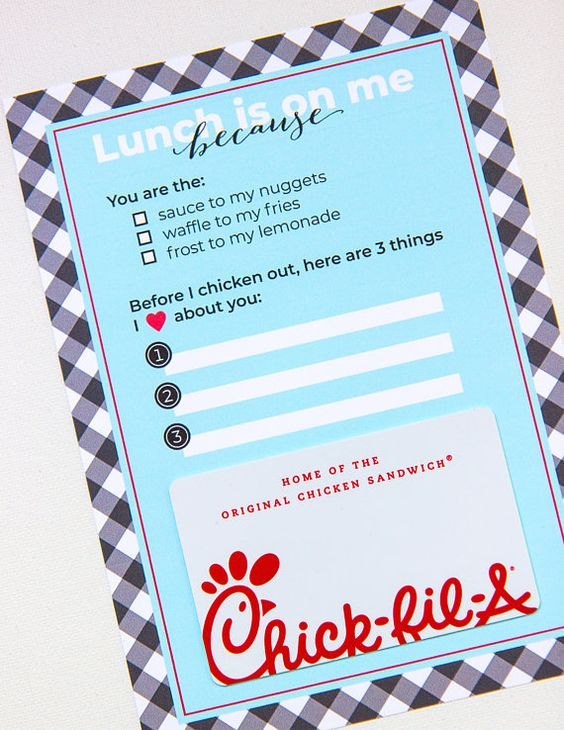 Chick Fil A gift card holder for teacher, birthday, friend, mother's day, father's day, graduation g