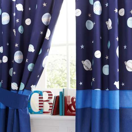Blackout Curtains boys blue blackout curtains : CHILD ROOM - Curtains - Kids Space Mission Blackout Pencil Pleat ...