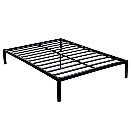 Bed Frame Metal Platform Queen Mattress Foundation No Box Spring Needed Black Heavy Duty Steel Slat Non Metal Bed Frame Metal Platform Bed Mattress Foundations