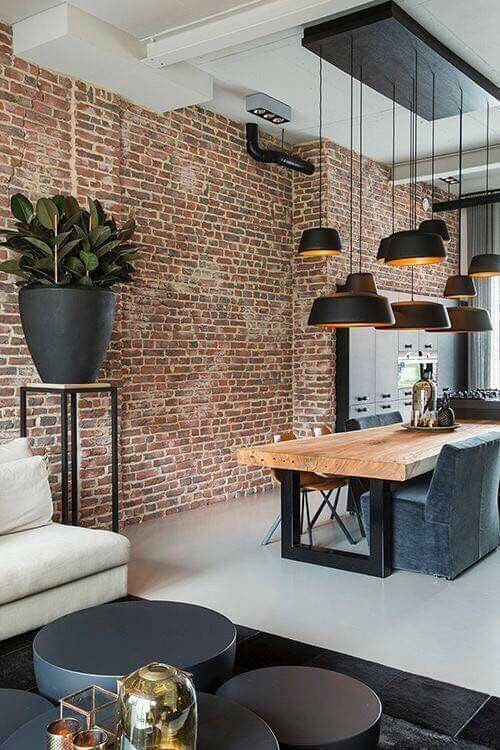 I think this wall is missing a cool black framed mirror. But good idea for my buyers opting for the brick wall #livingroomfurniturelighting