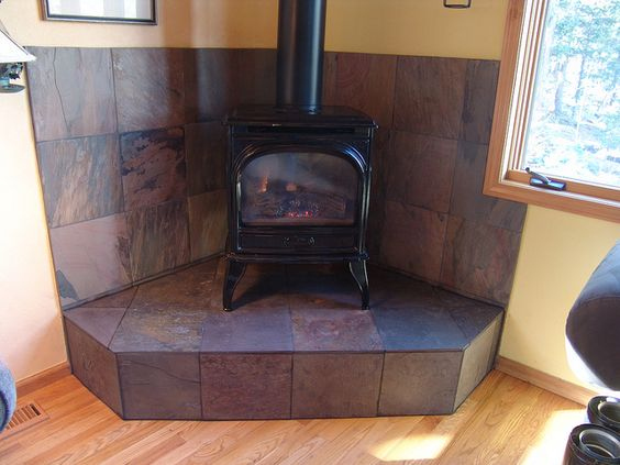 Simple tile slate wood stove platform hearth - Simple Tile Slate Wood Stove Platform Hearth Ofen Pinterest