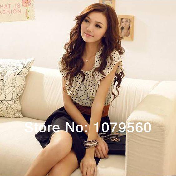 2014 Summer New Korean Women  Fashion Chiffon Dress Short-sleeve  Waist Mini With Belt Dresses US $4.89 - 7.85
