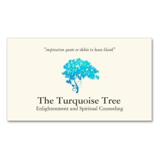 Life coach spiritual counselor turquoise tree business for Life coaching business cards