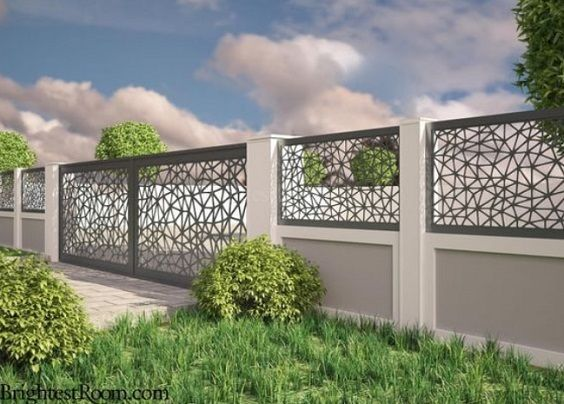 25 Best Concrete Fencing Design Ideas For Backyard Remodeling Plan Compound Wall Gate Design Fence Gate Design Fence Wall Design